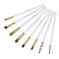 jessup t099 8 pcs essential series brush set -white & golden-elb1813-b99j 5215 1a00