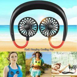 adjustable 7 leaf mini usb rechargeable fan portable neck sport fan neckband desk hand air fan conditioner for room dropship