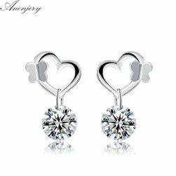 925 sterling silver earrings butterfly kiss love heart zircon crystal stud earrings for women 01058-9evb